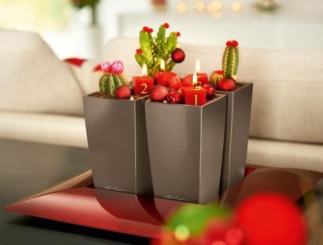 LECHUZA planter MINI-CUBI shiny taupe